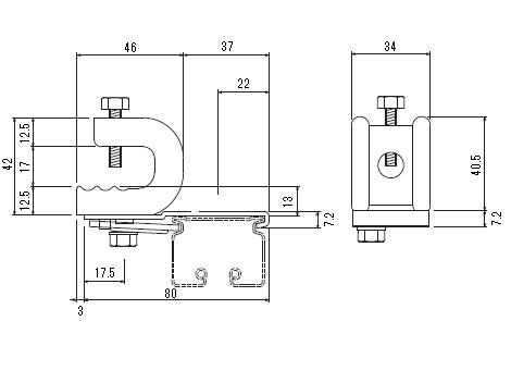 D40 クリップ付天井ブラケット Aタイプの寸法図-1