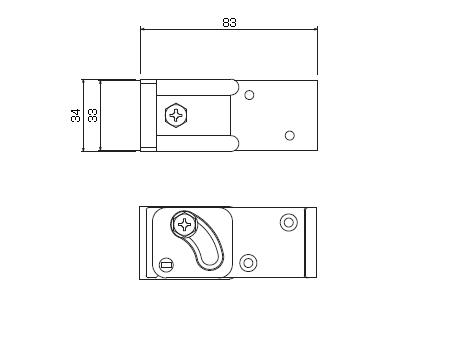 D40 クリップ付天井ブラケット Aタイプの寸法図-2