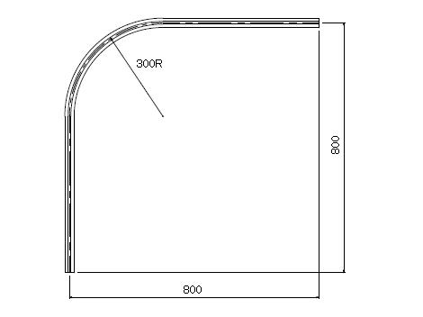D30 アルミカーブレールブラック 800×800×300Rの寸法図-2