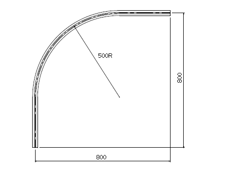D30 アルミカーブレールブラック 800×800×500Rの寸法図-2