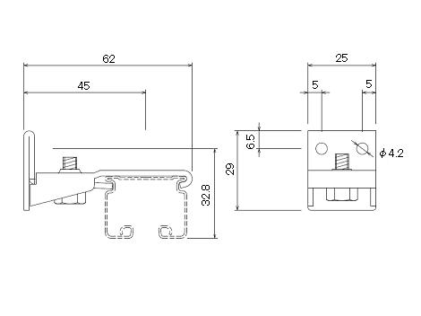 D30 Sブラケットブラックの寸法図-1
