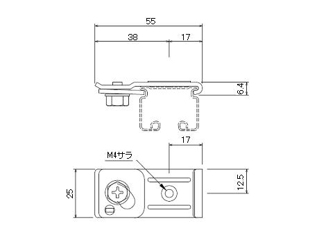 D30 天井Sブラケットブラックの寸法図-1