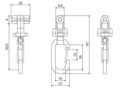 D30後付ワンタッチランナーの寸法図