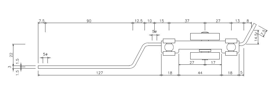 D30MG付手引用交差ランナーの寸法図