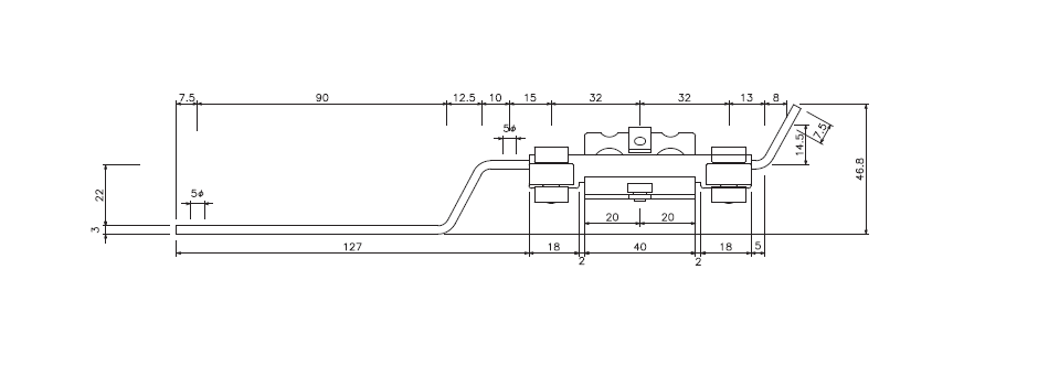 D30 紐引用交差ランナーの寸法図