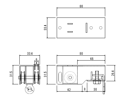 D30 引分車(1車・2車セット)の寸法図-1