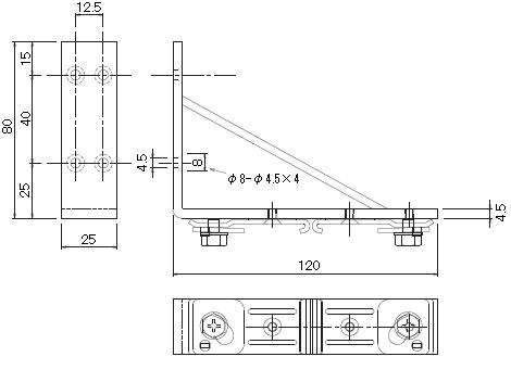 D30 持出Wブラケットの寸法図