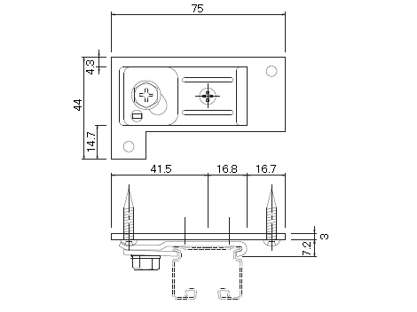 D30 天井Sブラケット下地プレート付の寸法図-1