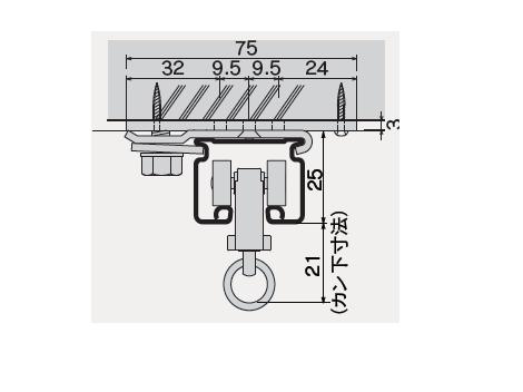 D30 天井Sブラケット下地プレート付の寸法図-2