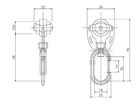 D40ステン特殊ワンタッチランナーの寸法図