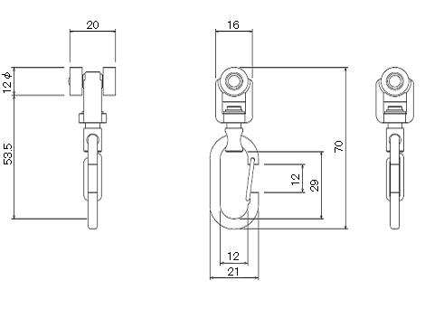 D30ワンタッチランナーの寸法図