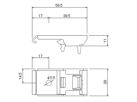 D30 ワンタッチ天井Sブラケットの寸法図-1