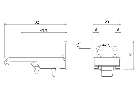 D30 ワンタッチSブラケットの寸法図-1