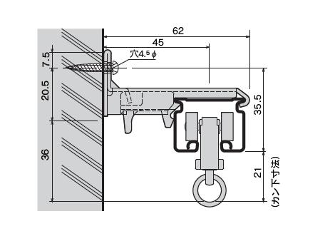 D30 ワンタッチSブラケットの寸法図-2