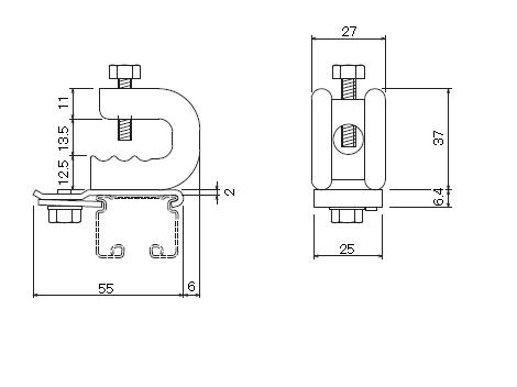 D30 クリップ付天井ブラケット 溶接タイプの寸法図-1