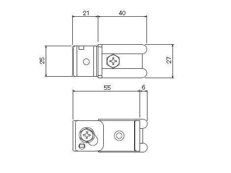 D30 クリップ付天井ブラケット 溶接タイプの寸法図-2