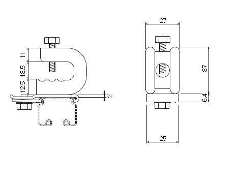 D30 クリップ付天井ブラケット ビスタイプの寸法図-1