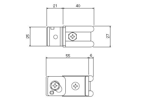 D30 クリップ付天井ブラケット ビスタイプの寸法図-2