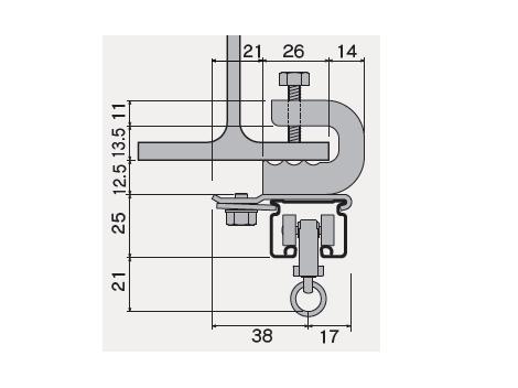 D30 クリップ付天井ブラケット ビスタイプの寸法図-3