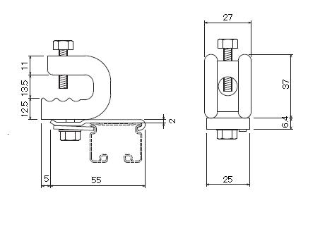 D30 クリップ付天井ブラケット Aタイプの寸法図-1