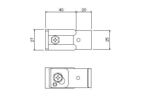D30 クリップ付天井ブラケット Aタイプの寸法図-2