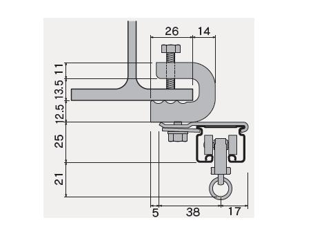 D30 クリップ付天井ブラケット Aタイプの寸法図-3