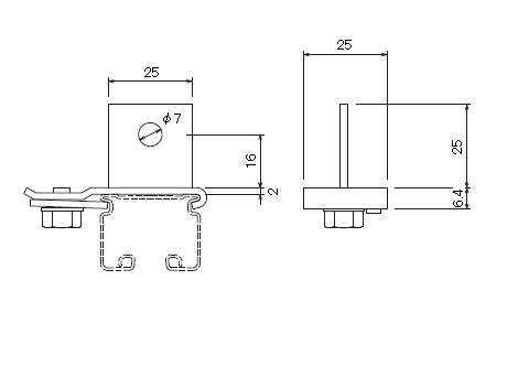 D30 吊ブラケットBタイプの寸法図-1