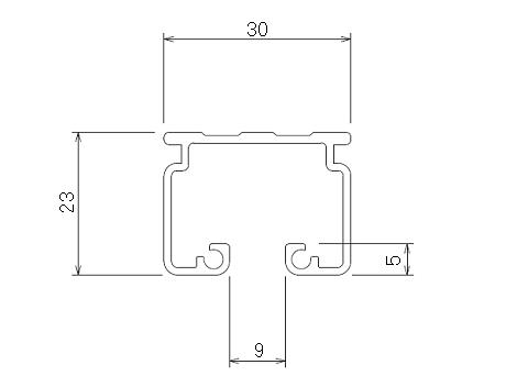 D30 アルミレール 3mの寸法図-1