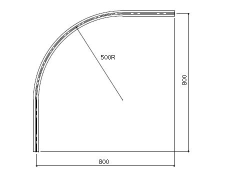 D30 アルミカーブレール 800×800×500Rの寸法図-2