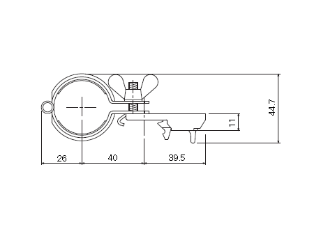 D30 パイプバンド付ブラケット32φ用の寸法図-2