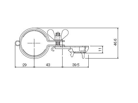 D30 パイプバンド付ブラケット38φ用の寸法図-2