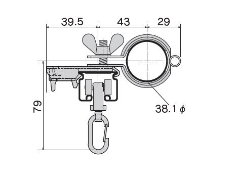 D30 パイプバンド付ブラケット38φ用の寸法図-3