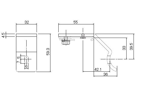 D30 パイプ用ブラケット32φ用の寸法図-1