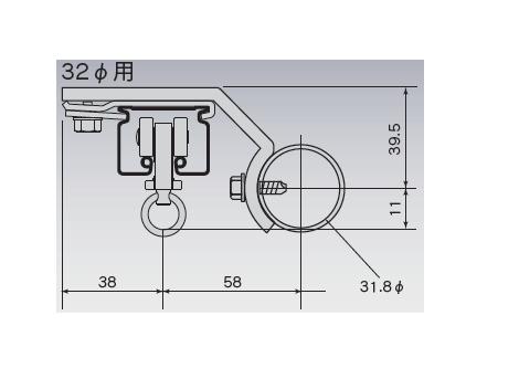 D30 パイプ用ブラケット32φ用の寸法図-2