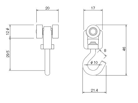 D30ヒートンランナーの寸法図