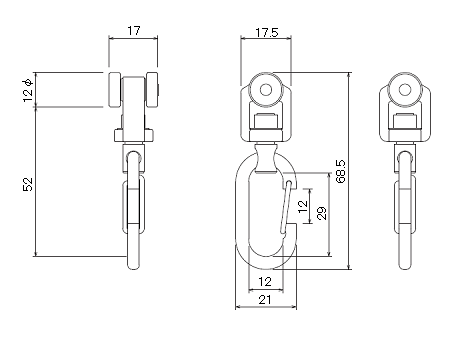 D30ベアリング入ワンタッチランナーの寸法図