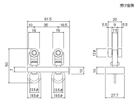 D30マグネットランナー(両開)通常ランナータイプの寸法図-1