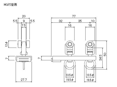 D30マグネットランナー(両開)通常ランナータイプの寸法図-2
