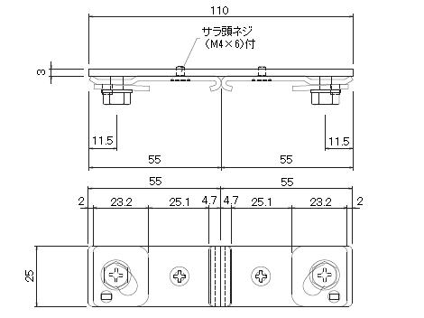 D30天井Wブラケット(別注品)の寸法図