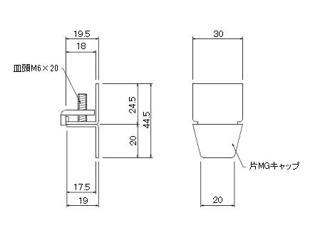D30片マグネットランナー(片開)通常ランナータイプの寸法図-1