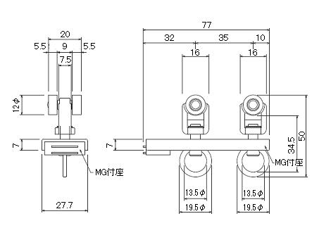 D30片マグネットランナー(片開)通常ランナータイプの寸法図-2