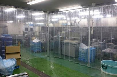 ジャバラカーテンの工場設置例
