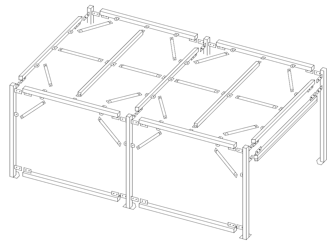 3m~5mのキューブを組み合わせて作るユニット設計。
