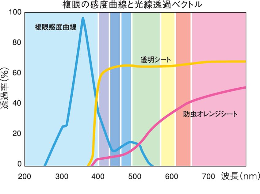 複眼の感度曲線と光線透過ベクトル