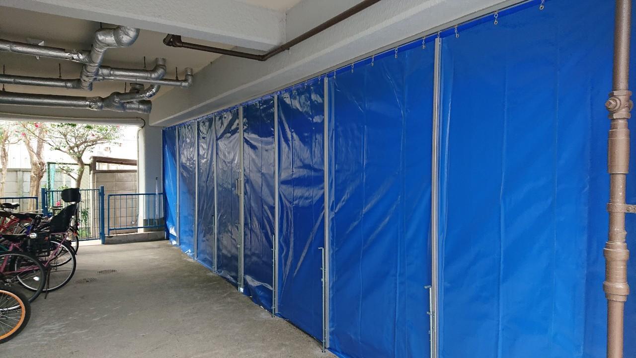 施工事例駐輪場の雨対策